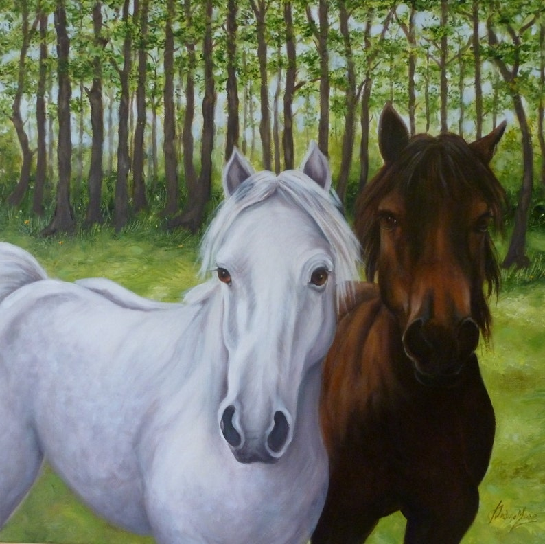 Animal artwork ponies gift Contemporary Oil painting image 0