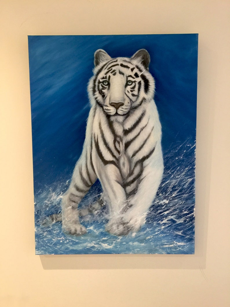White tiger in snowstorm large oil painting on gallery-wrap image 0