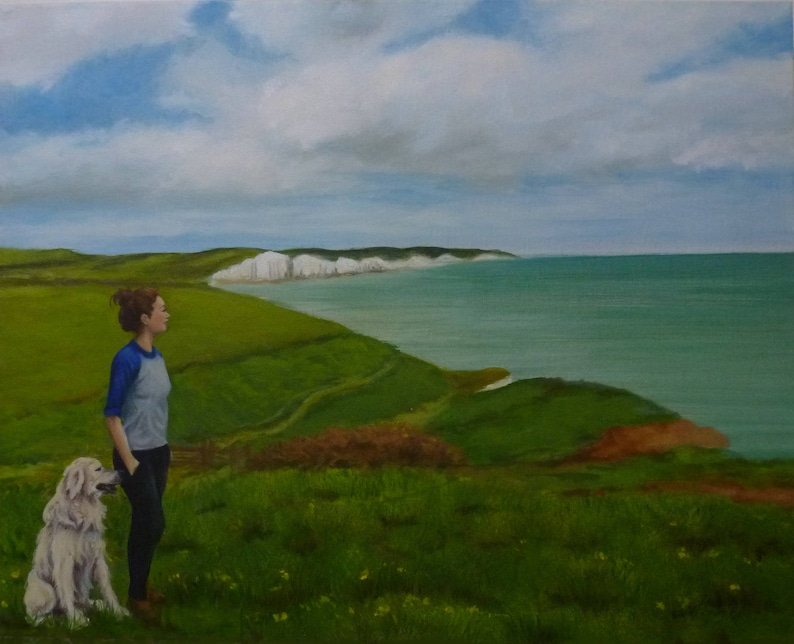 Sea Painting girl and dog sea cliffs Oil painting on image 0