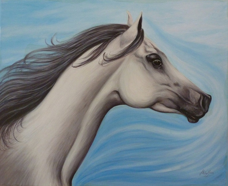 White horse painting Arabian Horse size 18 x 22 inches SALE image 0