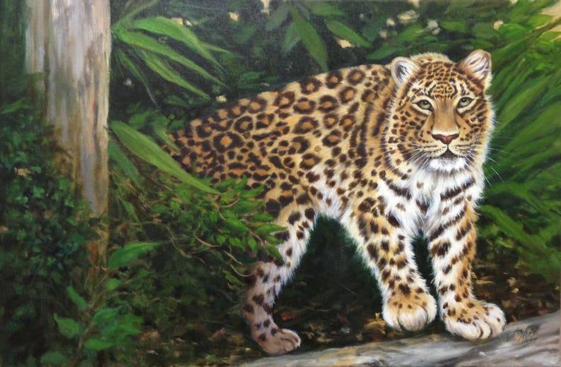 Leopard  painting Original Oil painting 16 x 24  image 0