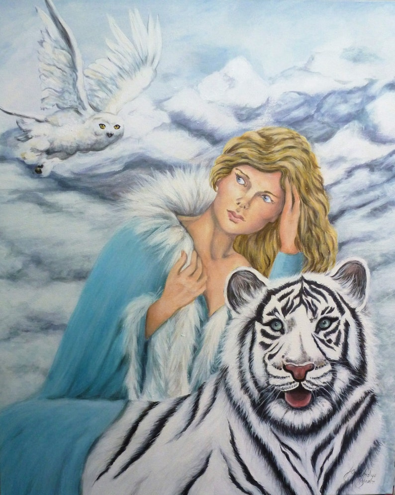 White tiger and Owl with woman in snow mountains fantastic image 0