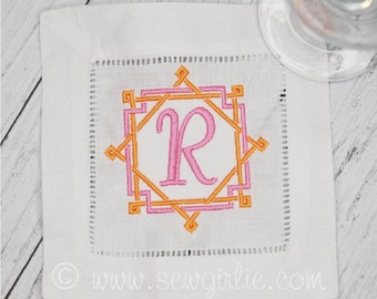 Personalized Preppy Monogrammed Set of 4 Bamboo Rattan Cocktail Napkins/Embroidered Wedding Gift/Hostess Gift/Personalized Gifts