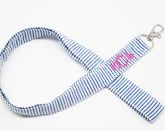 Personalized Preppy Monogrammed Seersucker Lanyard/Fabric Lanyard ID badge holder/Great Gift Office Workers/Nurses/Teachers/Student/Sorority