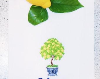 Monogrammed Lemon Tree Towel-Family Name Kitchen-Custom Tea Towel-Kitchen Décor-New Couple Gift-Wedding Gift-Hostess Gift-Engagement Gift