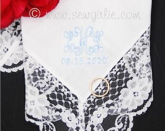 Monogrammed Handkerchief/Wedding Handkerchief/Bridesmaid Handkerchief/Monogram Mother of Groom gift/Mother of the Bride/Embroidered Wedding