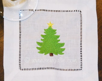 Christmas Tree Cocktail Napkins/Holiday Gift/Hostess Gift/Personalized Gifts