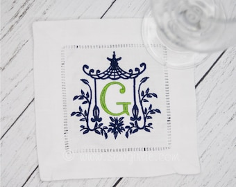 Personalized Preppy Monogrammed Set of 4 Pagoda Cocktail Napkins/Embroidered Wedding Gift/Hostess Gift/Personalized Gifts