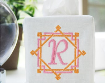 Personalized Preppy Monogrammed Bamboo Rattan Tissue Box Cover/Custom Baby Nursery/Embroidered Wedding Gift/Hostess Gift/Personalized Gifts