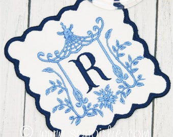 Personalized Preppy Monogrammed Pagoda Coasters Set of 4/Embroidered Wedding Gift/Hostess Gift/Personalized Gifts