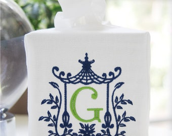 Personalized Preppy Monogrammed Pagoda Tissue Box Cover/Custom Baby Nursery Decor/Embroidered Wedding Gift/Hostess Gift/Personalized Gifts
