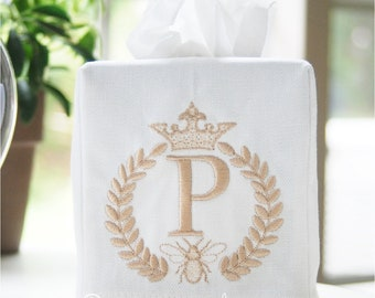 Personalized Preppy Monogrammed Wreath with Queen Bee Tissue Box Cover/Custom Baby Nursery Décor/Embroidered Wedding Gift/Hostess Gift