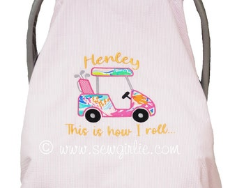 Preppy Personalized Monogrammed Seersucker & Minky Car Seat Cover Golf Cart This is how I roll/Car Seat cover/Car seat tent/Newborn Gift