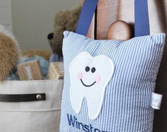Personalized Monogrammed Seersucker Tooth Fairy Pillow/ pocket pillow/tooth fairy/tooth pocket pillow/kids pillow/lost tooth pillow