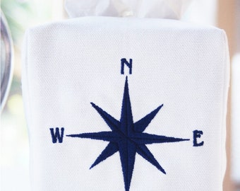 Preppy Compass Tissue Box Cover/Custom Baby Nursery/Embroidered Wedding Gift/Hostess Gift/Personalized Gifts