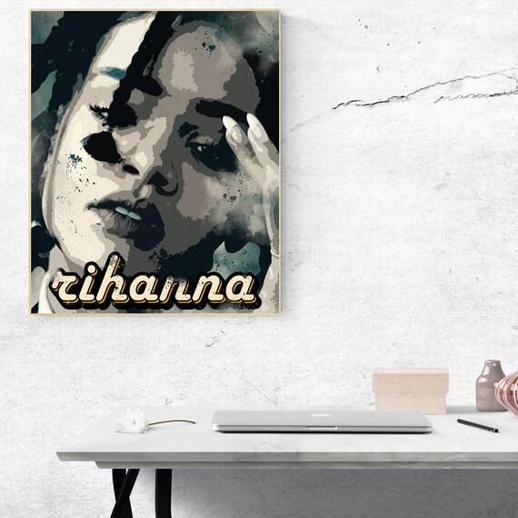 A4 sizes A3 A1 A2 Rihanna Vintage Black /& White Photo Poster