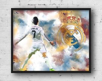 Cristiano Ronaldo Real Madrid poster, Real Madrid Poster, Cr7 poster, Cristiano Ronaldo instant download, Cristiano Ronaldo digital print