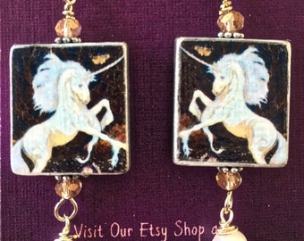 Vintage Wooden Tile Earrings - White Unicorn (Item # TF10)