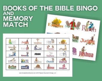 Books of the Bible Bingo 48 Printable Cards & Memory Match Game