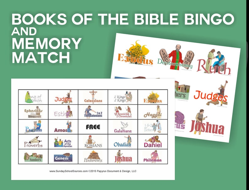 photo about Books of the Bible Printable Cards named Textbooks of the Bible Bingo 48 Printable Playing cards Memory Video game Match