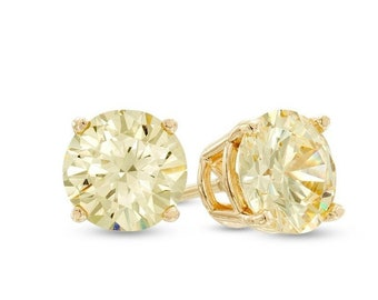 dcf00f148 14K Yellow/White Gold 100% Natural Fancy Yellow Diamond Stud Earrings  0.12CTW