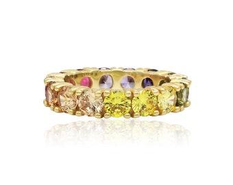 5US-9US 14K Yellow Gold Silver Rainbow 3.50Ct Round Created Diamond Ring Sizes