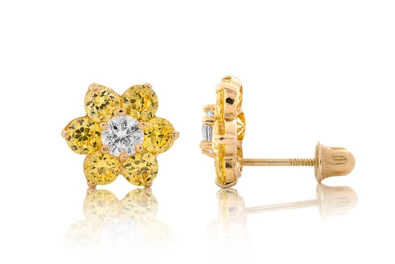 14k Yellow Gold Diamond /& Citrine Flower Cluster Screwback Stud Earrings 0.50Ct