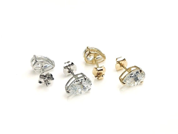 14K Yellow//White Gold Open Bow Shape Stud 0.52CT Screw Back Earrings