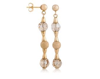 14K Solid Yellow Gold Double Crystal Dangle Ball Push Back Stud Earrings
