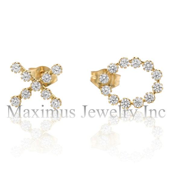 0.75Ct Baguette Created Diamond Huggie Hoop Earrings Solid 14K White Gold VVS1
