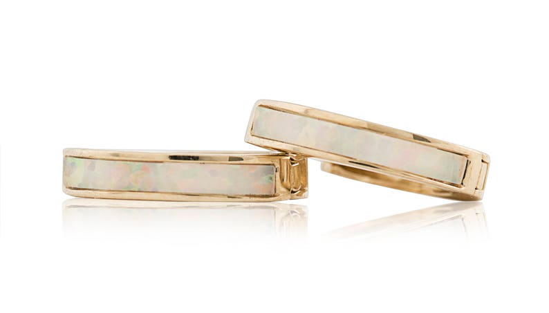 Opal Huggie Stright Hoop Small Earrings 10mmX1.5mm 14K Solid Yellow Gold
