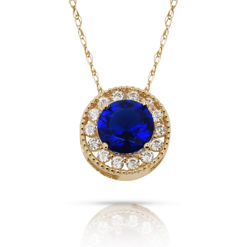 1.50CT Alexandrite Round Shape Halo Pendant /& Necklace 14K Yellow Gold