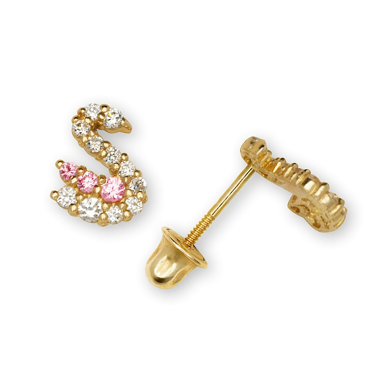 14K YellowWhite Gold w Clear /& Pink Created Diamond Swan Shape Earrings 0.48CT
