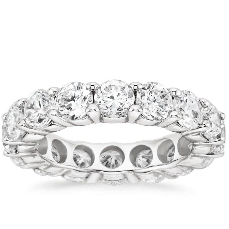 5-9 Eternity Band 14K White Gold 6.00CT Created Diamond Wedding Ring Sizes