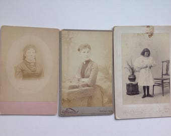 A group of(3) cabinet card portraits 1860's/70's Albumen black and white Connecticut Wisconsin