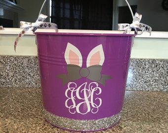 Personalized Easter Bucket, Metal Easter Bucket, Monogrammed Purple Glitter Easter Bucket, Bunny Ear Monogram, Bow Monogram Easter Basket