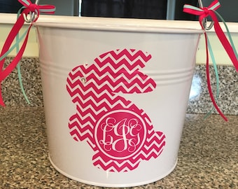 Easter Basket, Custom Easter Bucket, Metal Easter Bucket, White Easter Bucket, Pink Easter Basket, Personalized Easter Bucket, Easter Pail