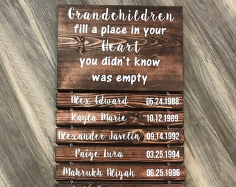 Grandparents Sign with Names - Grandchildren Sign with Name and DOB - Grandparents Gift - Greatest Blessings - Gift for Grandparents
