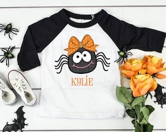 Halloween Shirt for Kids, Toddler Halloween Shirt, Halloween Shirt Youth, Spider Shirt, Personalized Halloween Shirt, Girls Halloween Shirts