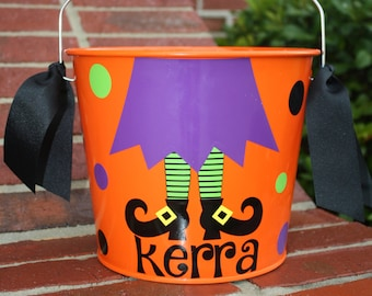 Personalized Witches Legs Orange Halloween Bucket