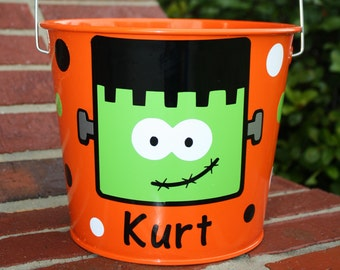 Personalized Frankenstein Orange Halloween Bucket