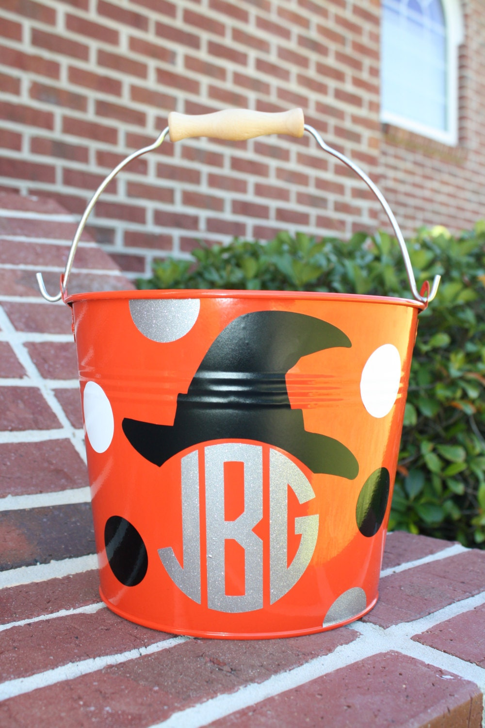 personalized halloween trick or treat metal bucket witches hat monogram halloween bucket halloween bag trick or treat bag
