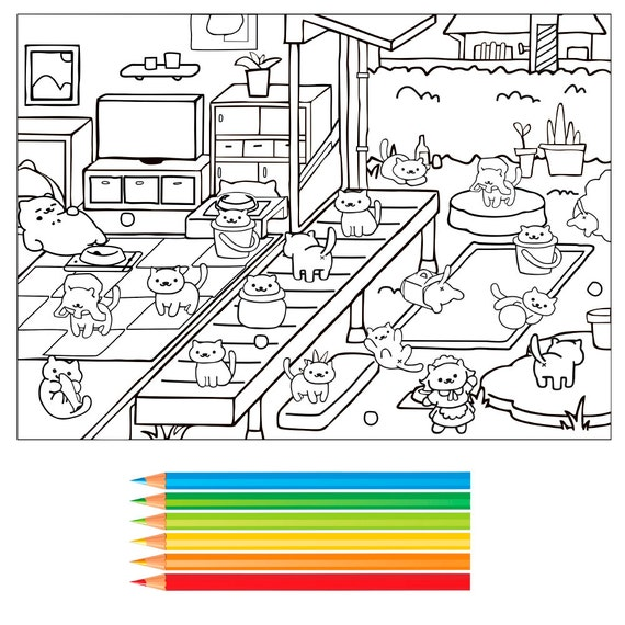 items similar to neko atsume coloring page pdf on etsy