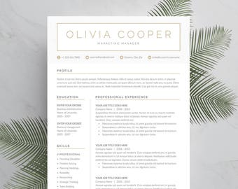 Modern Resume Template 4 page | CV Template + Cover Letter for MS Word | Instant Digital Download | 'Olivia'