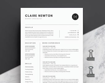 Resume Template 4 page | CV Template + Cover Letter for MS Word | Instant Digital Download | 'Claire'