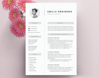 Modern Resume Template 4 page | CV Template + Cover Letter for MS Word | Instant Digital Download | 'Emilia'