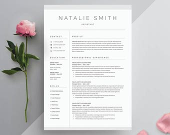 Resume Template 4 page | CV Template + Cover Letter for MS Word | Instant Digital Download | 'Natalie'