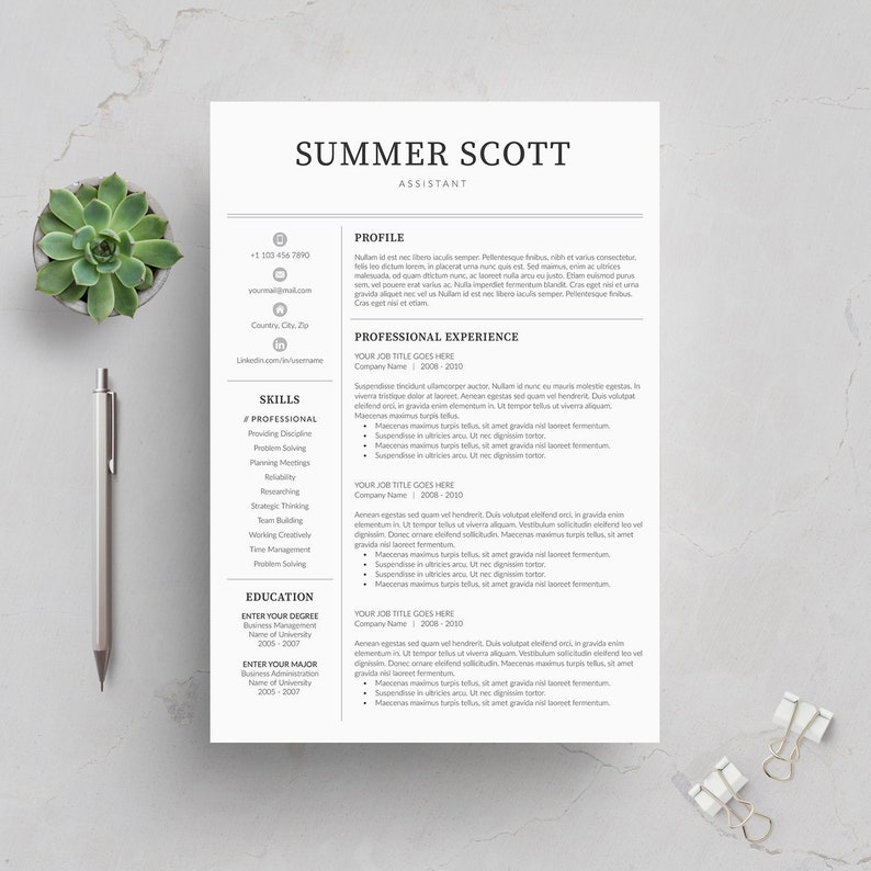 Resume Template 5 page | CV Template + Cover Letter + References for MS  Word | Instant Digital Download | \'Summer\'