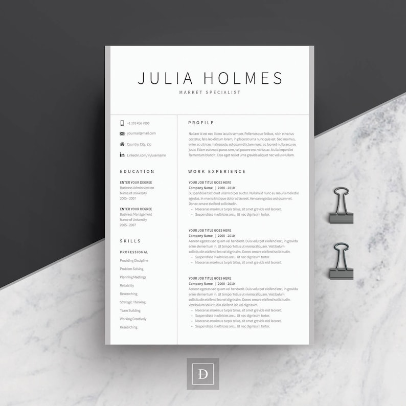 Resume Template 4 page   CV Template + Cover Letter for MS Word   Instant  Digital Download   \'Julia\'