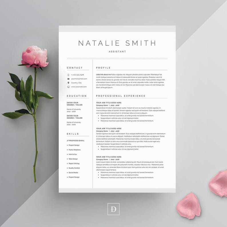 Resume Template 4 Page Cv Template Cover Letter For Ms Word Instant Digital Download Natalie